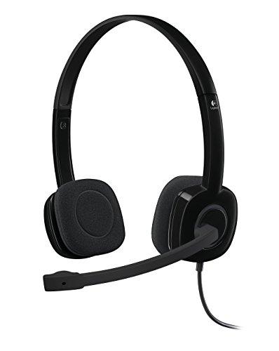 Logitech H151 Auriculares con Cable, Sonido Estéreo con Micrófono Giratorio, Jack 3,5mm, Controles Integrados, PC/Mac/Portátil/Tablet/Smartphone , Negro