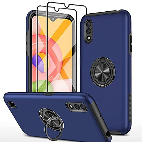 SmaCase Funda Compatible con Samsung Galaxy A01 Carcasa +2 Piezas Protector de Pantalla 360 Grados Anillo Giratorio para Soporte - Bleu...