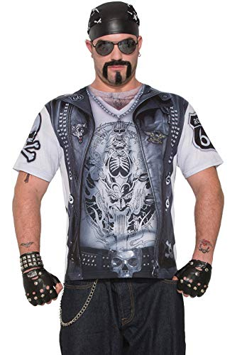 Forum Novelties- Biker Man Printed Shirt Parte Superior de Disfraz, Color Ver Imagen, XL (77164-As-XL)