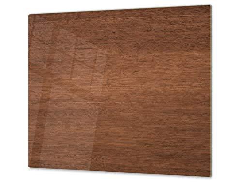 Planche à découper en verre trempé et couvre-cuisinière – Résistant à la chaleur et aux bactéries – UNE PIÈCE (60x52 cm) ou DEUX PIÈCES (30x52 cm chacune); D10A Série Textures: Bois 14