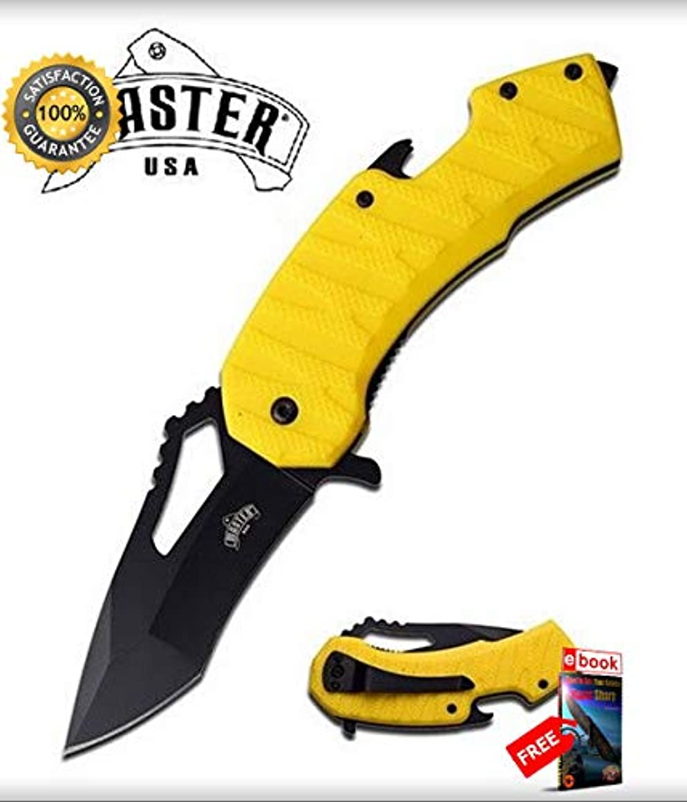 SPRING ASSISTED Folding Sharp KNIFE 3'' Yellow Tanto Blade EDC Bottle Open Glass Breaker Combat Tactical Knife + eBOOK by Moon Knives