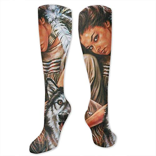 Indian Maiden und Wolf Native American Frauen & Männer Socken Kleid Socken Länge 19,7 Zoll / Breite 3,4 Zoll Polyester Material Kniestrümpfe Mädchen Socken Mittlere Strümpfe Persönlichkeit Socken