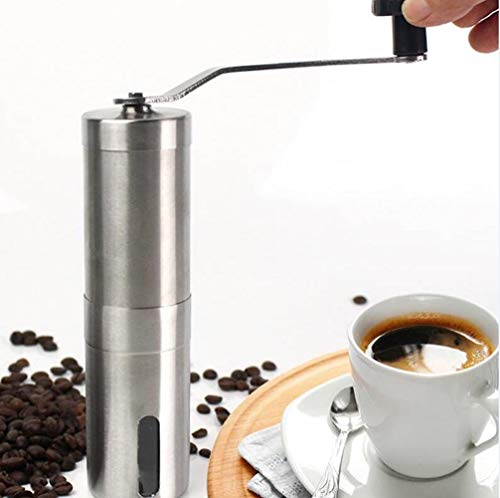 Manual Coffee Grinder, The Strongest and heaviest Portable Cone Burr Mill, Whole Bean Manual Coffee Grinder, for French Press, Hand held Mini, K Cup, Brushed Stainless Steel