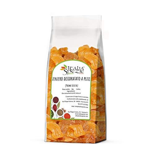 ITALIA SPEZIE - Zenzero disidratato 100% Naturale a pezzi 1 kg - PRIMA SCELTA - Essiccato al naturale - senza solfiti aggiunti - frutta disidratata