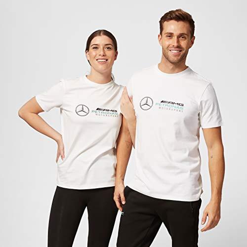 Formula 1 Mercedes-AMG Petronas Herren T-Shirt mit großem Logo, Weiß, Größe S