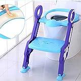 Aseo Escalera Asiento Escalera del Tocador de Niños Asiento para WC, 2 Escalones y Agarraderas Grandes, Antideslizante, Plegable, Altura Ajustable para 1-7 niños, Azul + Púrpura