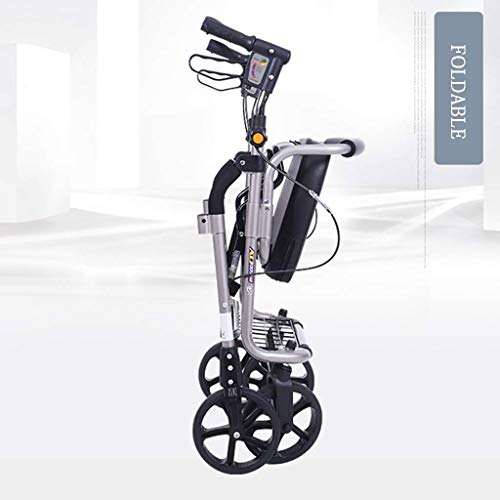 Mnjin Wheelchair Portable Shopping Trolley, Old Traveler Traveling Four Wheels, Can Sit Folded Lightweight Transport Chair Creative Home