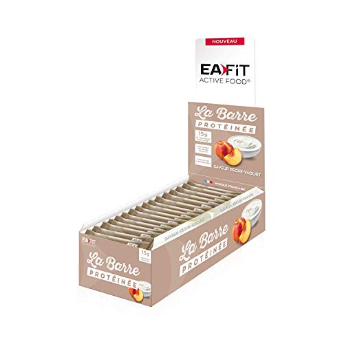 EAFIT Peach & Yoghurt Protein Bar - Display Box of 24 46g Bars - Available in 6 Delicious Flavours - Coated with Milk Chocolate - 16g of Protein per bar - only 5.5g of Fat - 12 Vitamins and Minerals