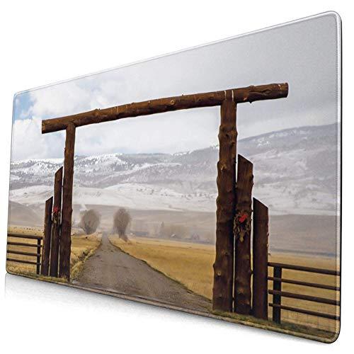 Extra großes Gaming Mauspad Big Log Gate Lane Montana Rinderfarm im Winter Landschaft Hügel Bewölkter Himmel Professionelle Schreibtischmatten Tastatur Mousepad Tischmatte