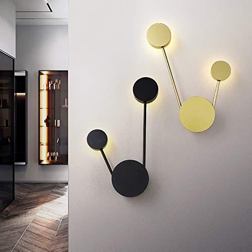 LJ Nordic Creative Lámpara de pared para dormitorio, sala de estar TV fondo LED lámpara de pared de hierro forjado pasillo Iluminación 29 x 49 cm (color: negro)