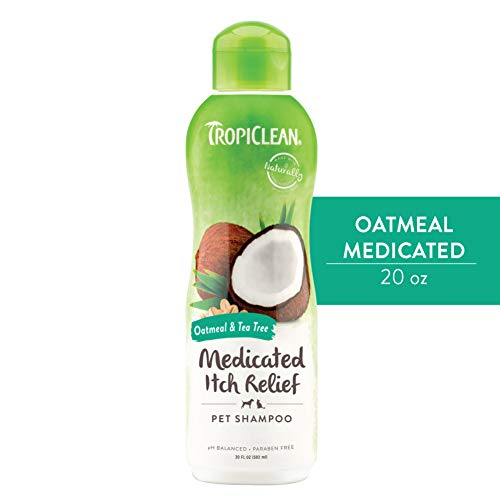 TropiClean Oatmeal & Tea Tree Medicated Itch Relief Shampoo for Pets, 20oz - Relief for Dry, Itchy Skin, Made in the USA