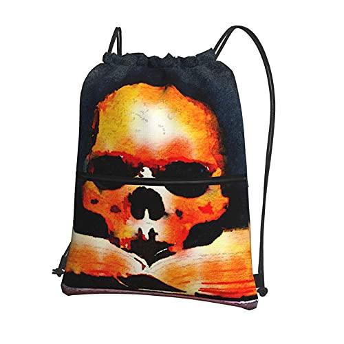 AOOEDM Watercolors Vintage Skull Read Book Mochila con cremallera con cordón, mochila deportiva con bolsillos exteriores con cremallera para adolescentes, niños, niñas, hombres, mujeres