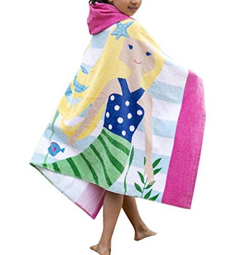Comfysail 100% Baumwolle Kinder Kapuzen Poncho Handtuch Bade Badetuch für Jungen und Mädchen von 2-7 Jahren Strand 76 * 127cm (Meerjungfrau)