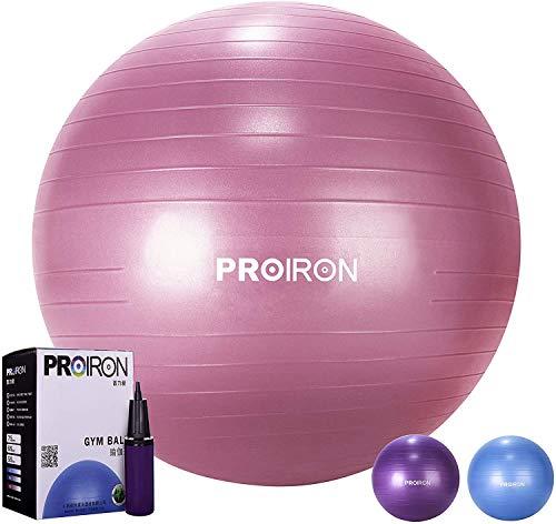 PROIRON Balle de Fitness 55 65 75 cm, Ballon Grossesse, Swiss Ball pour Pilates Yoga Gym, Ballon d'exercice avec Pompe, Anti-éclatement et Anti-dérapant Yoga Ball   75cm Rouge