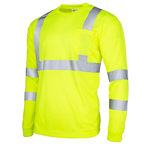 JORESTECH Safety T Shirt Reflective High Visibility Long Sleeve Yellow/Lime ANSI Class 3 Level 2 Type R TS-02 (M)