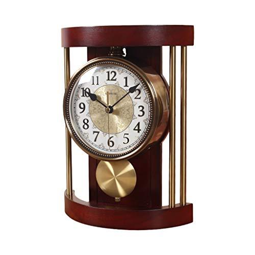 Reloj despertador digital de estilo europeo retro de madera maciza para sala de estar, dormitorio, reloj de cuarzo. Reloj de péndulo decorativo. Reloj despertador para casa