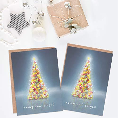 Wee Blue Coo Christmas Cards 6 Pack - Tree Lights Merry Bright Set Xmas Cards Cristo Árbol Ligero Brillante: Amazon.es: Hogar