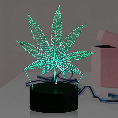 Luz nocturna 3D, lámparas de hoja de cannabis para niños, tacto inteligente, 7 colores cambiantes de ilusión óptica, regalo fresco para niñas y niños