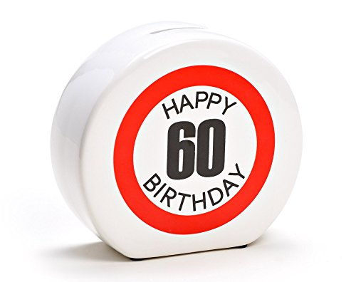 Spardose Geburtstag aus Keramik in 6 Varianten - Happy Birthday 60 - Geldgeschenk zum Geburtstag von WoMa - Weiß/Rot