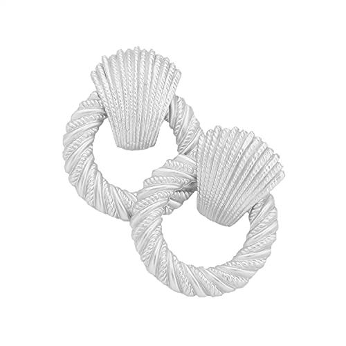 Schmuckanthony Hoernel - Pendientes de aro de plata mate con cadena, 4,5 cm de largo