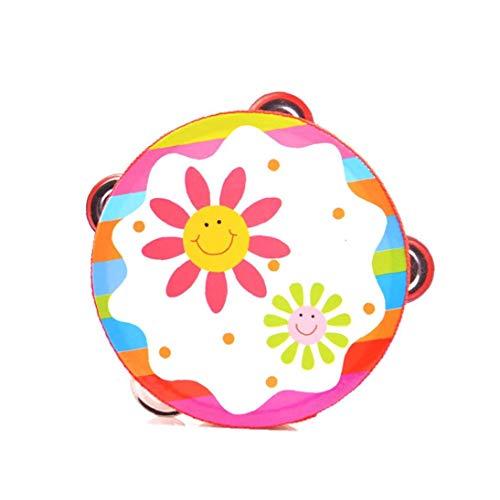 XKJFZ 1pc Madera Pandereta Mano De Bell del Tambor Traqueteos Clap Tambor Pandereta Juguete De Instrumentos Musicales Percusión para Niños Niño Bebé (Color Al Azar)