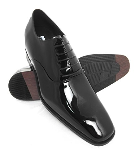 Zerimar Schuhe für Männer erhöhen auf undsichtbare Weise Ihre Körper Grösse: Höhe Steigerundg, Versteckter anhebender Ferse, Erhöht Ihre Höhe bis zu + 7 cm echt Leder Farbe schwarz
