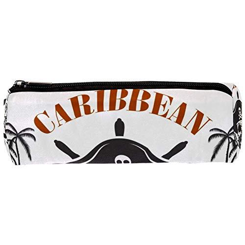 TIZORAX Federmäppchen Karibik Pirat Federmäppchen Reißverschluss Tasche Münzorganizer Make-up Kosmetiktasche für Frauen Teenager Mädchen Jungen Kinder