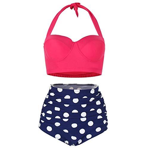 Fenverk Damen Retro Stil Polka-Punkt mit Hoher Taille Badeanzug Bikini Set,Damen Niedlich Ruffles Strap Badeanzug Crop Top Flounce Bikini(C#Wassermelonenrot,XL)