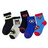 5 Paar Baby-Socken, rutschfest, Baumwolle, Anime-Cartoon-Muster, Socken für Kinder, flippige Socken, niedliche Socken, 1–12 Jahre alt (Farbe: Batman, Größe: S)