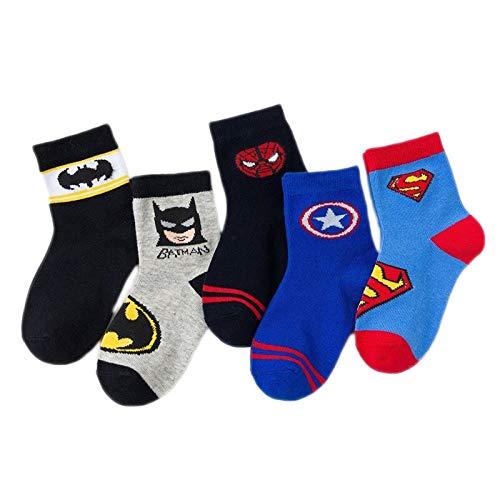 5 pares de calcetines antideslizantes para bebés, de algodón, con dibujos animados, para niños, calcetines de 1 a 12 años de edad (color: Batman, tamaño: S)
