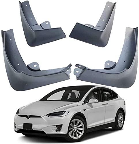 Coche Faldillas Antibarro para Tesla Model-X Model X 2016-2020 2017 2018 2019, Delantero Trasero Guardabarros De Goma Fender Set Accesorios con Instalación De Clavos