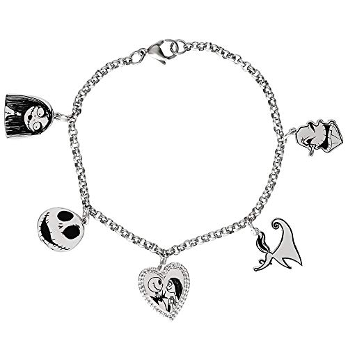 Disney Tim Burton's Nightmare Before Christmas Silver Plated 7.25' Charm Bracelet, Official License