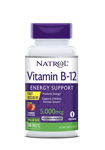 Natrol Vitamin B12 Fast Dissolve Tablets, Promotes Energy, Supports a Healthy Nervous System, Maximum Strength