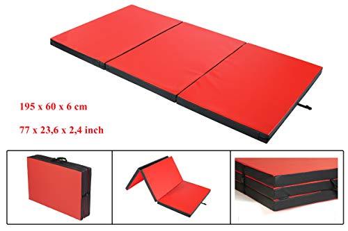 Materaco - Colchoneta de gimnasia plegable para deporte y ejercicios, 195 x 60 x 6 cm
