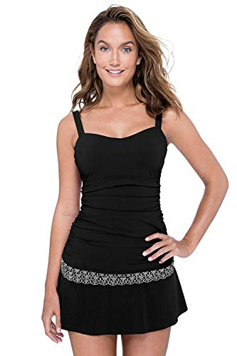 Profile by Gottex Women's Sweetheart Cup Sized Tankini Top Swimsuit, Love'n Lace Black, 34D