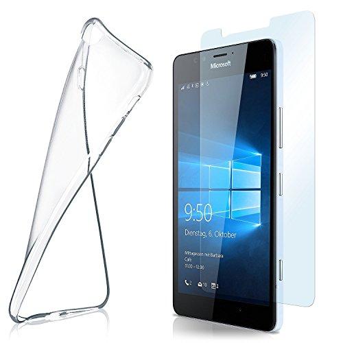 moex Aero Hülle mit Panzerglas für Microsoft Lumia 950 - Hülle mit Schutzfolie, transparent - Crystal Clear
