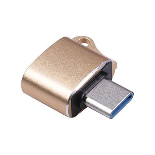 NEYOANN Adaptador Macho Tipo C una USB 2.0 de 2 Piezas AleacióN de Aluminio OTG (Dorado)