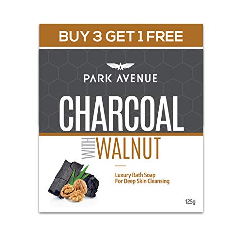 Park Avenue Charcoal & Walnut soap 125gm (Buy 3 Get 1 Free), 125 g (Pack of 4)