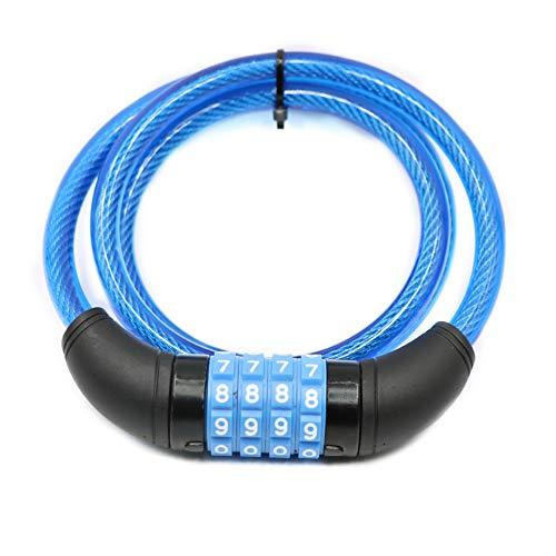 Candado de Bicicleta La Seguridad de contraseña FGF Cuatro Hilos MTB Bloqueo aro de Bloqueo de la Bicicleta por Cable (Color : Lake Blue, Talla : 10mm*1000m)