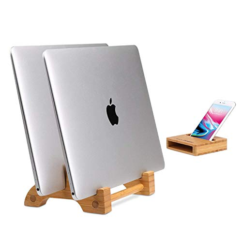 AVLT Eco-Friendly Natural Bamboo Wood Vertical Laptop Stand and Desk Organizer - Compatible with Apple MacBook, iPad, iPhone, Tablet - Multiple Device Docking Station for Up to 0.65' Thick
