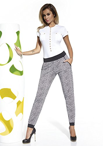 Casual leggings, gespikkeld, zwart/wit, enkel, maat L, Taille S, zwart.