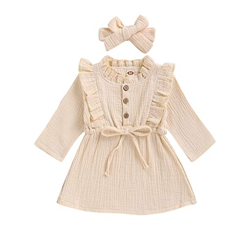 Pas Cher Vêtements enfants Été, 3-4 Ans Toddler enfants bébés filles Solid Linen Button Ruffle Princess Party Robe Vêtements Chic Cadeau Saint-Patrick