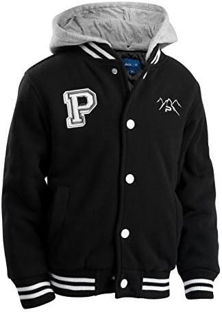 The Polar Club Boys' Fleece Varsity Baseball Jacket with Removable Hood