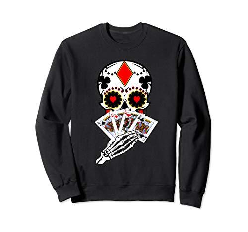 Day of the Dead Sugar Skull Cards Player Poker Sweatshirt