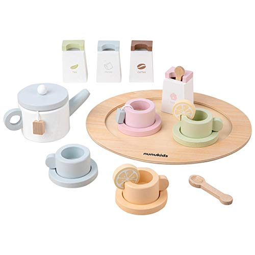 Rubyu-123 Juguetes de cocina para niños de madera, juguetes de té de la tarde, soporte para cupcakes de madera de 3 pisos y juguetes de postre para niños y niñas a partir de 3 años