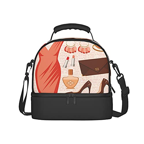 Insulated Lunch Bag Women Reusable Tote Bag Accessories Fashion Cocktail Dress Lipstick Earrings High Heels Theme Lunch Box for Men