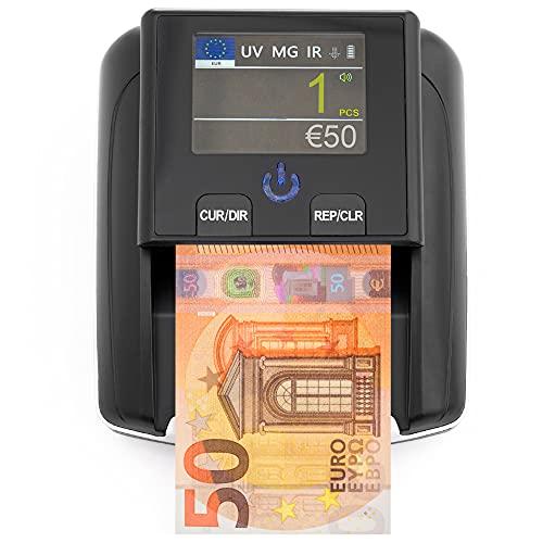 Rilevatore Verifica Banconote False e Conta Moneta euro 2 in 1 - Rileva Banconote False UV/MG/IR per Banconote Euro e Dollari Finti, False Sterline - Scan Portatile Compatto e Leggero
