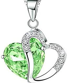 BAILIANHUA Lady Heart Pendant Necklace Crystal Jewelry Girls Necklace