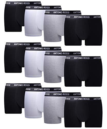 FM London Herren Fitted Boxer Hipster, Mehrfarbig (Schwarz/Grau/Weiß), Large (12er Pack)