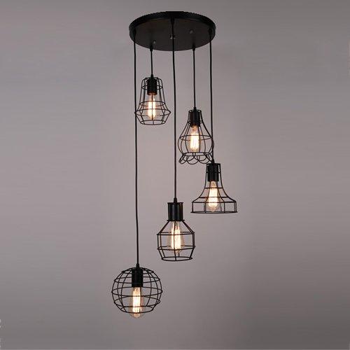 Hines Industrielle Vintage Retro LOFT Stil Kleine Fünf Köpfe Hob Käfig Pendelleuchte Leuchte 5 Licht Kette Einstellbare Schwarze Eisen Deckenpendelleuchte Kronleuchter